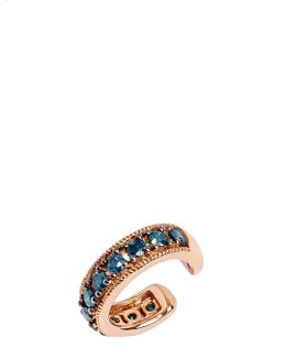 Dusty Diamonds 18ct Rose Gold And Blue Diamond Ear Cuff
