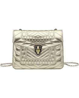 Serpenti Forever Metallic-leather Shoulder Bag