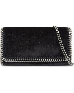 Ladies Black&navy Embossed Feminine Falabella Velvet Cross-body Bag