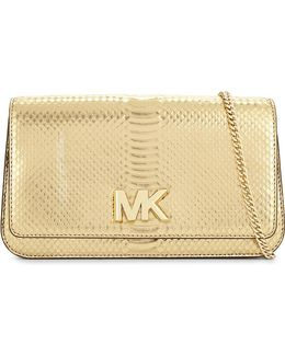 Snake-embossed Leather Clutch