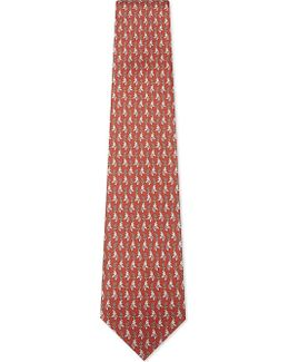 Elephant With Paisley Feather Silk Tie
