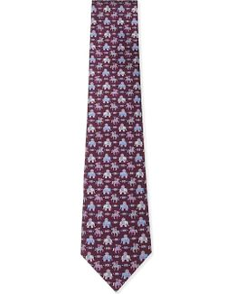 Mens Blue Luxury Elephant And Horse Silk Tie