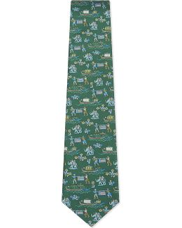 Indian Boat And Elephant Silk Tie