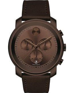 3600420 Bold Brown Ion-plated Stainless Steel And Leather Watch