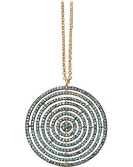 Large Icon Aura 14ct Yellow-gold And Blue Diamond Pendant Necklace