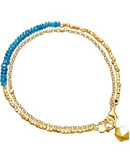 Biography Ocean Quartz And 18ct Gold-plated Bracelet