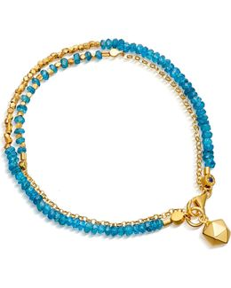 Biography Water Element Double Row Ocean Quartz And 18ct Gold-plated Bracelet