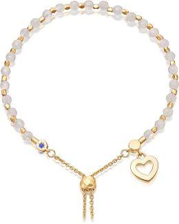 Heart 18ct Yellow-gold Vermeil And Rose Quartz Kula Bracelet