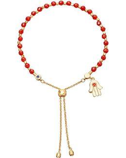 Hamsa Kula 18ct Yellow Gold-plated Friendship Bracelet