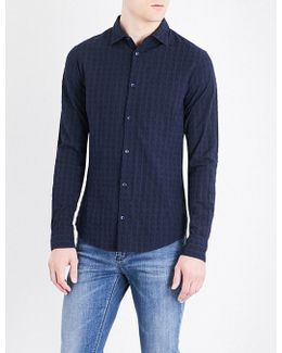 Textured Check Slim-fit Cotton Shirt