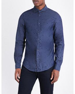 Eagle-embroidered Cotton Shirt