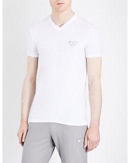 Eagle-print Stretch-cotton T-shirt