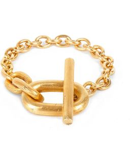 Acid-wash Gold-plated Toggle Bracelet