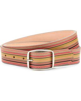Vintage Multi-stripe Leather Belt