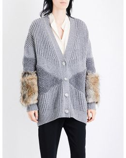 Faux Fur-trimmed Ribbed Wool Cardigan