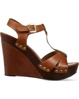 Katey Leather Wedge Sandals