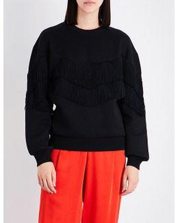 Jersery Fringed Cotton-blend Sweatshirt