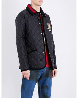 Badge-embroidered Quilted Shell Jacket