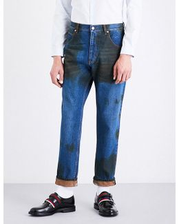 Dirt-detail Tapered Regular-fit Mid-rise Jeans