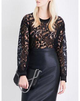 Sheer Floral-lace Sweatshirt
