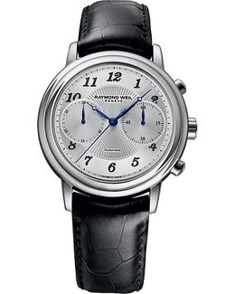 4830-stc05659 Maestro Stainless Steel And Leather Watch