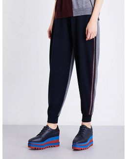 Contrast-panel Skinny Mid-rise Wool Jogging Bottoms