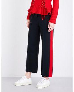 Tuxedo Striped Wide Loose-fit Wool-blend Trousers