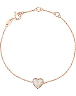 Heart Rose Gold And Diamond Bracelet