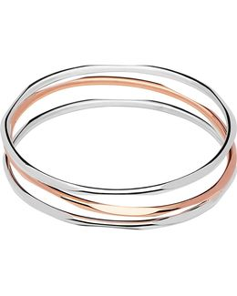 20/20 Three Loop Sterling Silver And 18ct Rose Gold Bangle