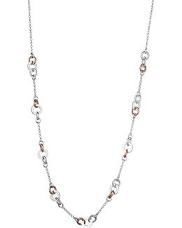 Aurora Sterling Silver And Rose Gold-toned Link Station Necklace