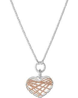 Dream Catcher Rose-gold Heart Pendant Necklace