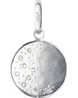 Moon Sterling Silver And Diamond Charm