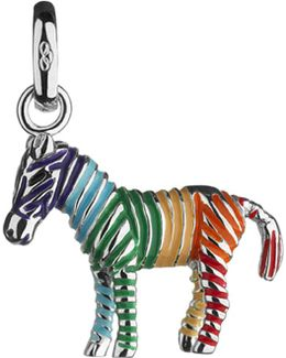 Rainbow Zebra Sterling Silver Charm