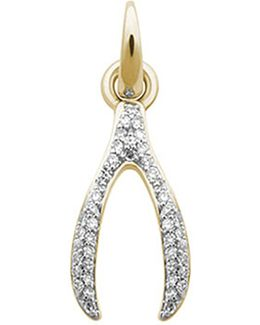 Wishbone 18ct Yellow-gold And Diamond Charm