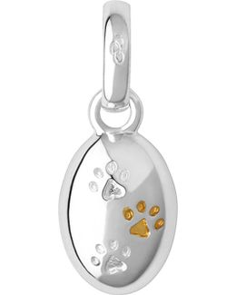 18ct Yellow Gold And Sterling Silver Paw Print Charm