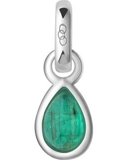May Sterling Silver And Emerald Mini Birthstone Charm