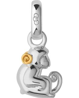 Chinese Zodiac Monkey Sterling Silver 18ct Yellow Gold Charm