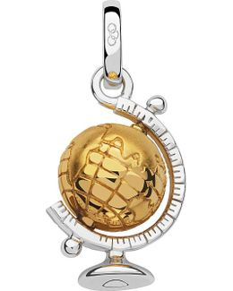 Sterling Silver And 18ct Gold Vermeil Globe Charm