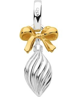 Sterling Silver And 18ct Gold Vermeil Drop Bauble Charm
