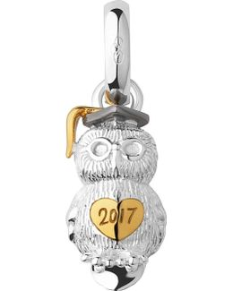 Graduation Owl Sterling Silver And 18ct Yellow Gold Vermeil Charm