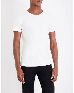 Frayed Edge Cotton-jersey T-shirt