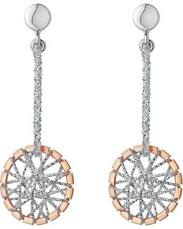 Sterling Silver And 18ct Rose Gold Vermeil Dream Catcher Drop Earrings