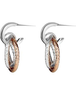 Aurora Sterling Silver And 18ct Rose Gold Vermeil Hoop Earrings