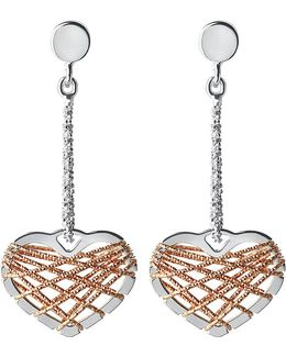 Dream Catcher 18ct Rose Gold Vermeil And Sterling Silver Earrings