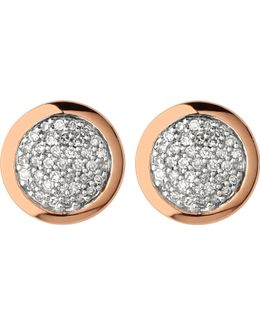 Diamond Essentials Rose Gold Vermeil And Diamond Stud Earrings