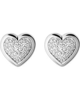 Diamond Essentials Silver And Diamond Heart Stud Earrings