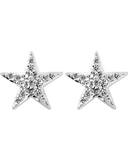 Diamond Essentials Sterling Silver And Diamond Star Earrings