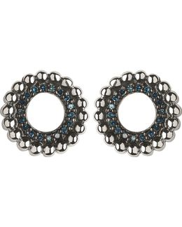 Effervescence Sterling Silver And Blue Diamond Stud Earrings