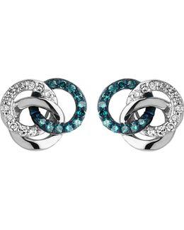 Treasured Silver And Diamond Stud Earrings