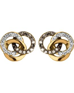 Treasured 18ct Gold Vermeil And Diamond Stud Earrings